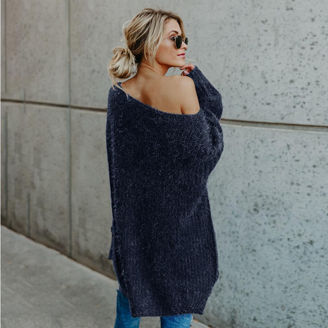 Maglione allentato della manica del Batwing della spalla di Batwing del solido casuale di modo delle donne Nuovo modo