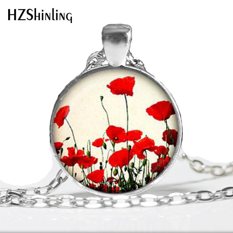 Pendentif Coquelicot Rouge Coquelicots Rouge Coquelicot Rouge coquelicot Collier collier pendentif fleur Bijoux Rouge,