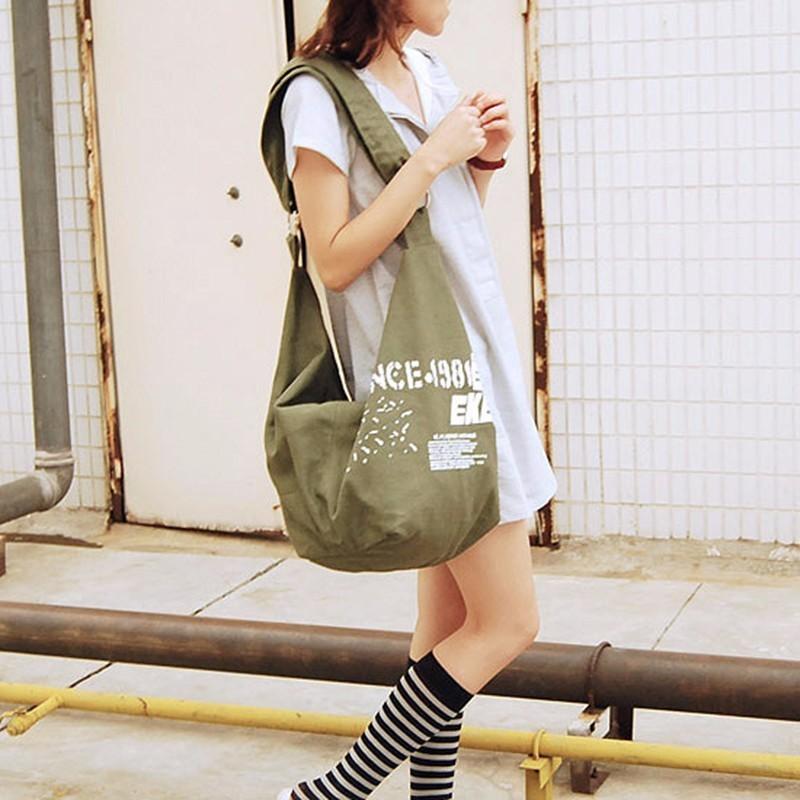 2019 Preto Coreano Sobre Sacos de Ombro Das Mulheres Do Sexo Feminino Irregular Lona Crossed Corpo Crossbody Bolsas Saco Senhoras N Sacos Do Mensageiro