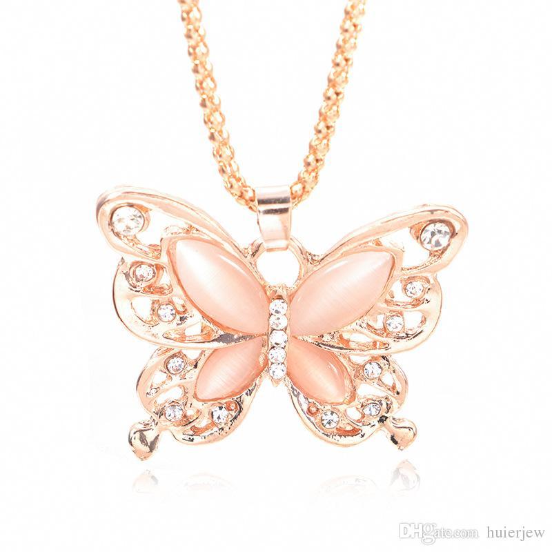 Fashion Femme argent 925 papillon rose opale de feu Charme Collier Pendentif Chaîne ~