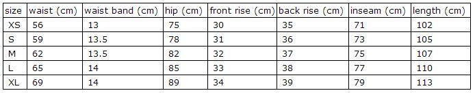 new size chart about high waist leggings-161005