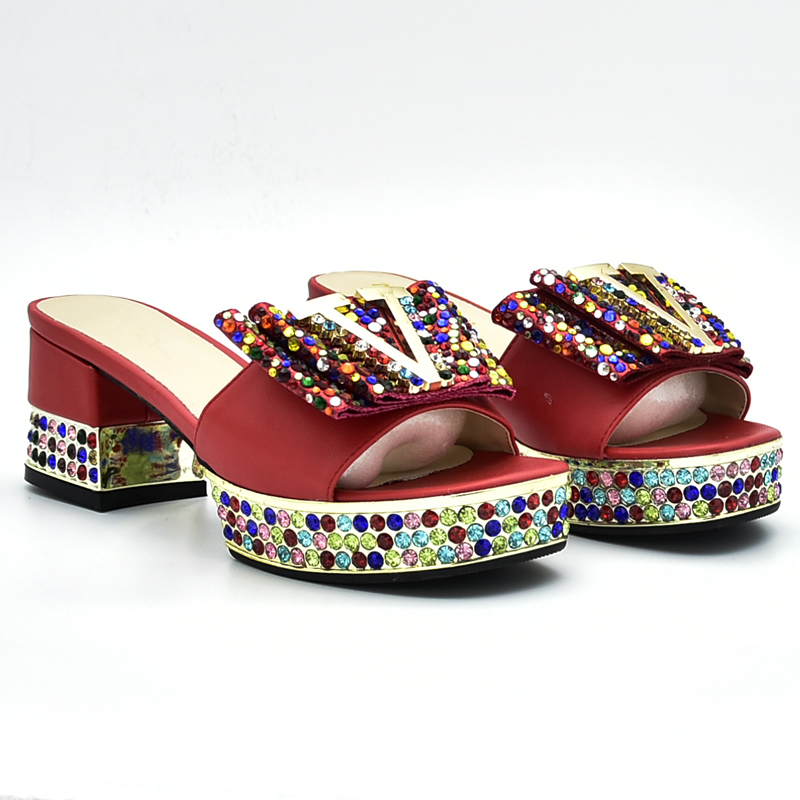 Latest African Shoes And Bags Matching Set Decorated With Rhinestone Nigerian Wedding Shoes And Bag Set Party Shoes And Bag Set