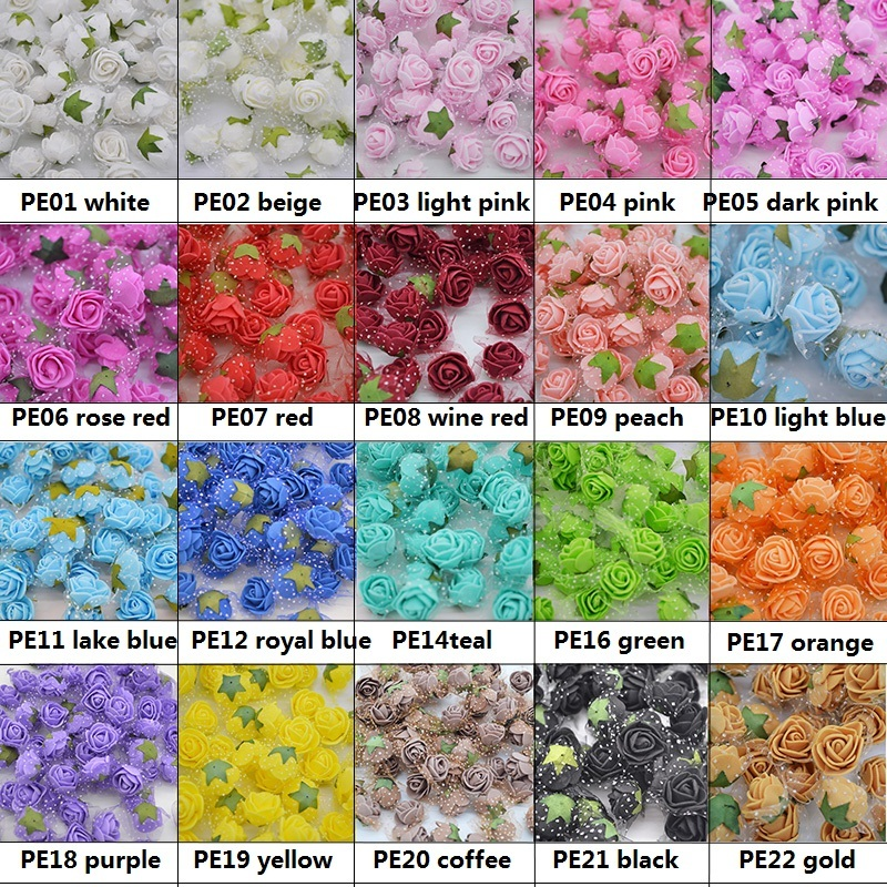 2cm Mini PE Foam Rose Artificial Silk Flower Heads With Leaves Handmade Bouquet DIY Wreath Supplies Wedding Party Decor C18112602