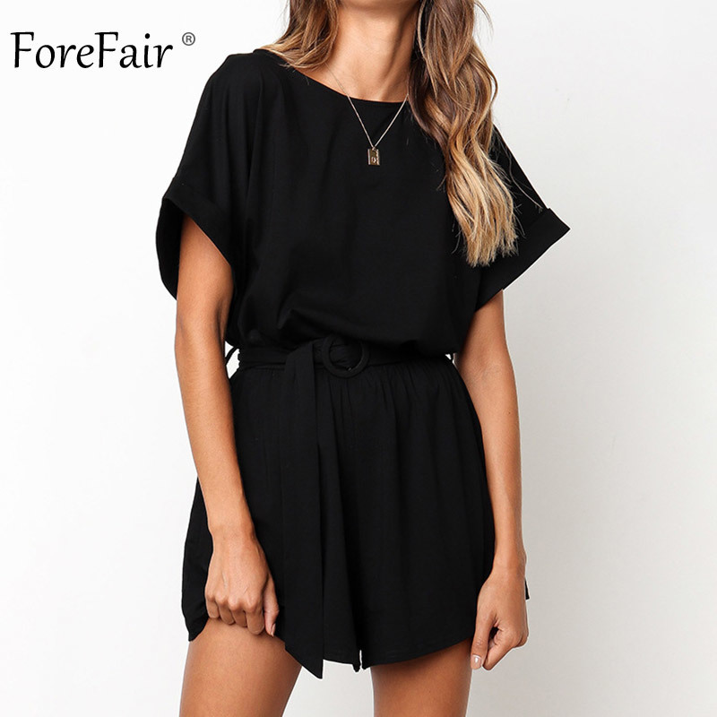 Forefair Linen Shorts Jumpsuit Summer Wide Leg (1)