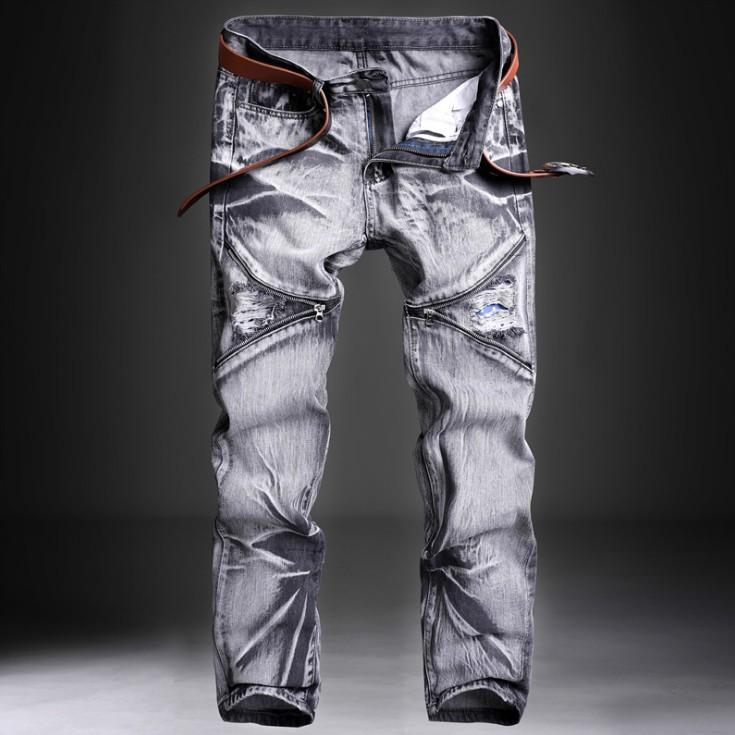 Hommes Jeans pantalon slim fit Biker vintage Jean skinny gris bleu bleu clair NEUF