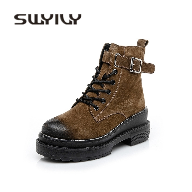 SWYIVY Ankle High Snow Boots Woman Thick Heelp 2018 Autumn Winter Fur Warm Casual Shoes Belt Buckel Genuine Leather Snow Boots