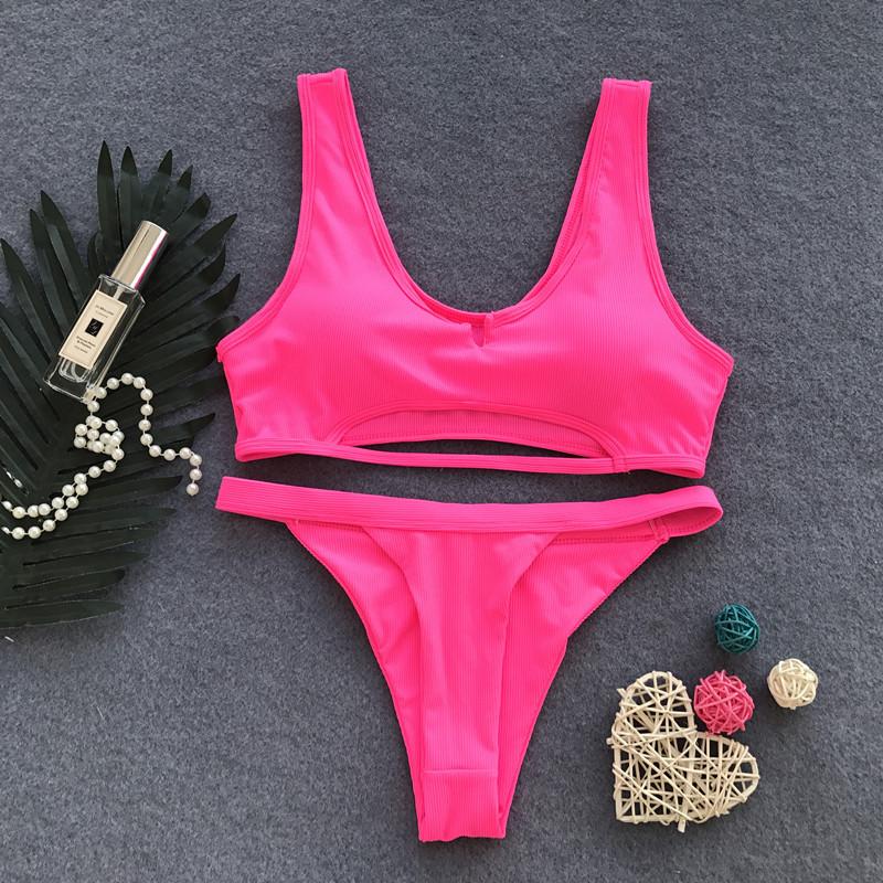 Hollow Lace Up Bandage Strap Two Piece Set Slim Sexy Women Beach Bikini Swimsuit Swimwear Lingerie Lenceria Bra Bathing Suit