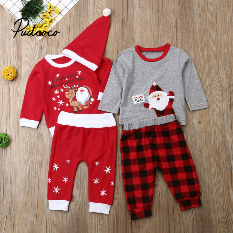 US Newborn Kids Baby Girl Christmas Outfits Clothes Shirt Tops+Leather Skirt Set