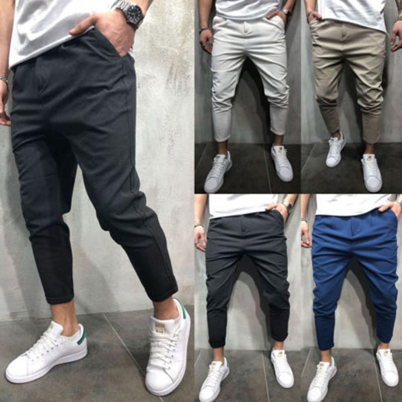Brand Men Pants Hip Hop Harem Joggers Pants Male Trousers Mens Joggers Solid Shrink Ankle Pants Sweatpants Size M-2XL