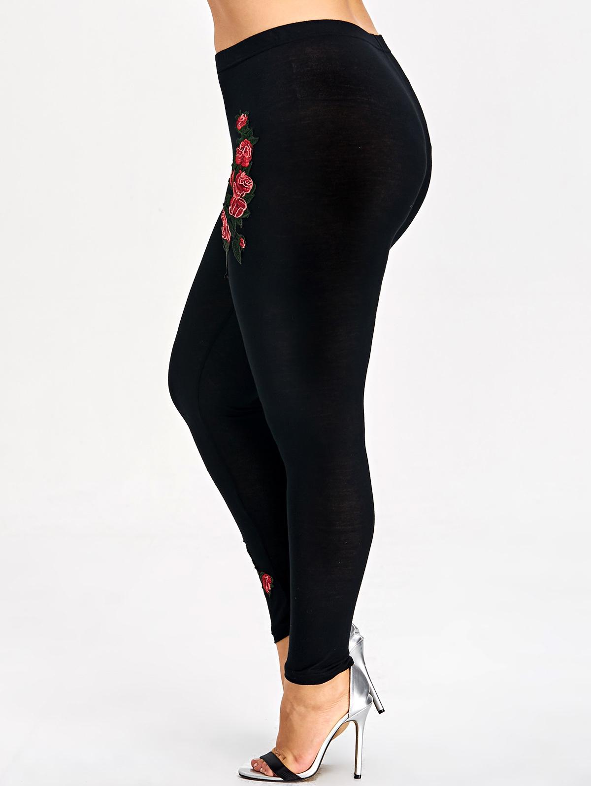 Rosegal Plus Size Embroidery Floral Leggings Women Pants Leggins Skinny Elastic Fitness Jeggings Pencil Pants Ladies Trousers
