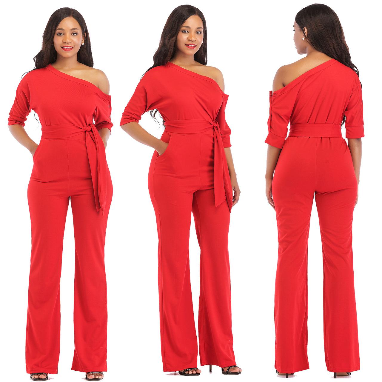 2019 Solid Color Jumpsuit Women Halter Half Sleeve Strapless Shoulder Stretch Wide Long Pants Casual Jumpsuit Rompers