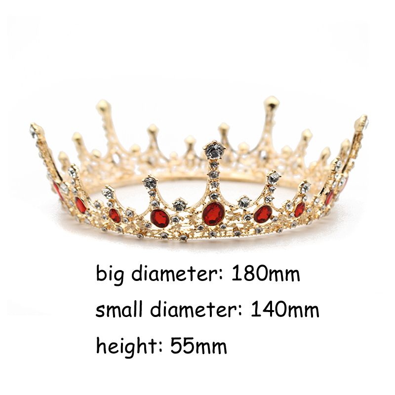 Vintage Baroque Big Full Round Crown Red Crystal Queen Tiara Circle Rhinestone Bride Crowns And Tiaras For Pageant Prom Jewelry J 190430