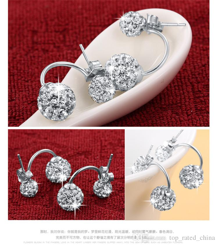 High quality Double sided Shambala Ball Stud Earrings Diamond Crystal disco beads Earings 925 Silver plated fine Jewelry for women girls