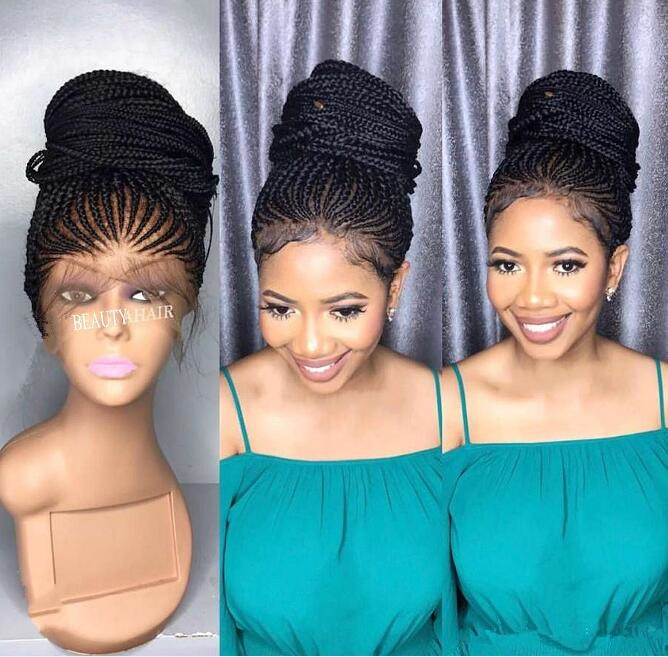 African American Box Braiding Hair Wig Lace Front Wig Density 200% Black Colour Synthetic Hair Lace Wig for Black Women Free Shippping