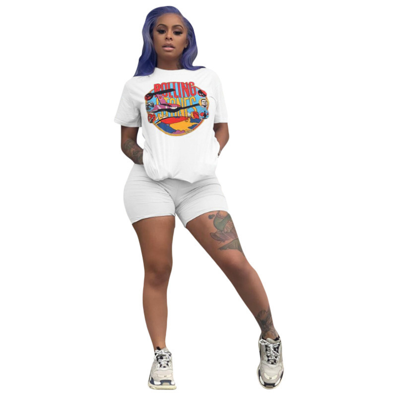 2019 Spring Summer Women Tracksuit Short Sleeve T-shirt Shorts Leggings Fashion Suit Summer Outfit Sportswear Jogger Set A3232