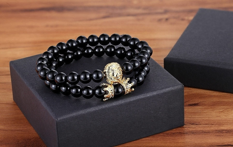 Natural Lave Bracelet Black Color 8mm Stone Lion & Crown Special Design Jewelry Neo-gothic Style Beads Bracelet For Men