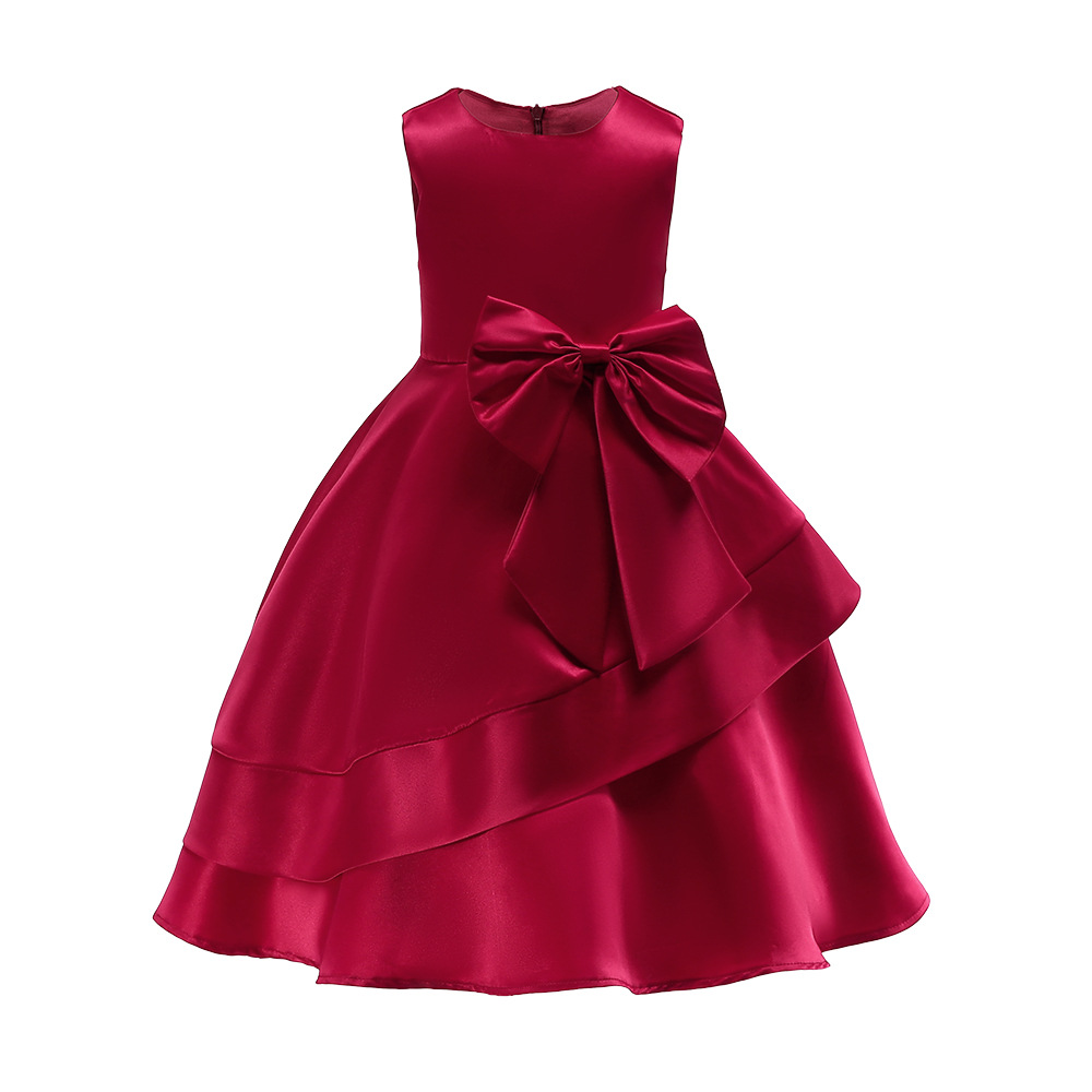 Young Teenagers Princess For Girls Dress V Neck Casual Girl's Solid Wine Red Dress Party Dress Kids Girls Clothes