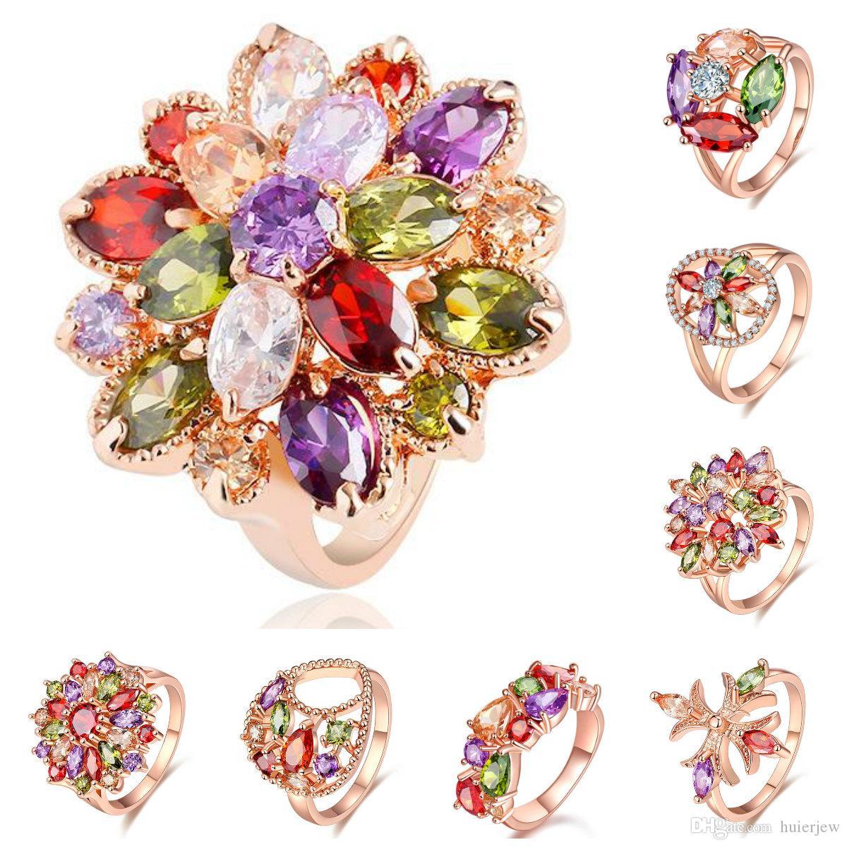 Fashion Femmes Plaqué Or Violet Royal Zircone Cubique Zircone Cubique Solitaire Anneau Bijoux