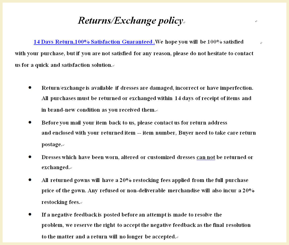 return or exchange terms