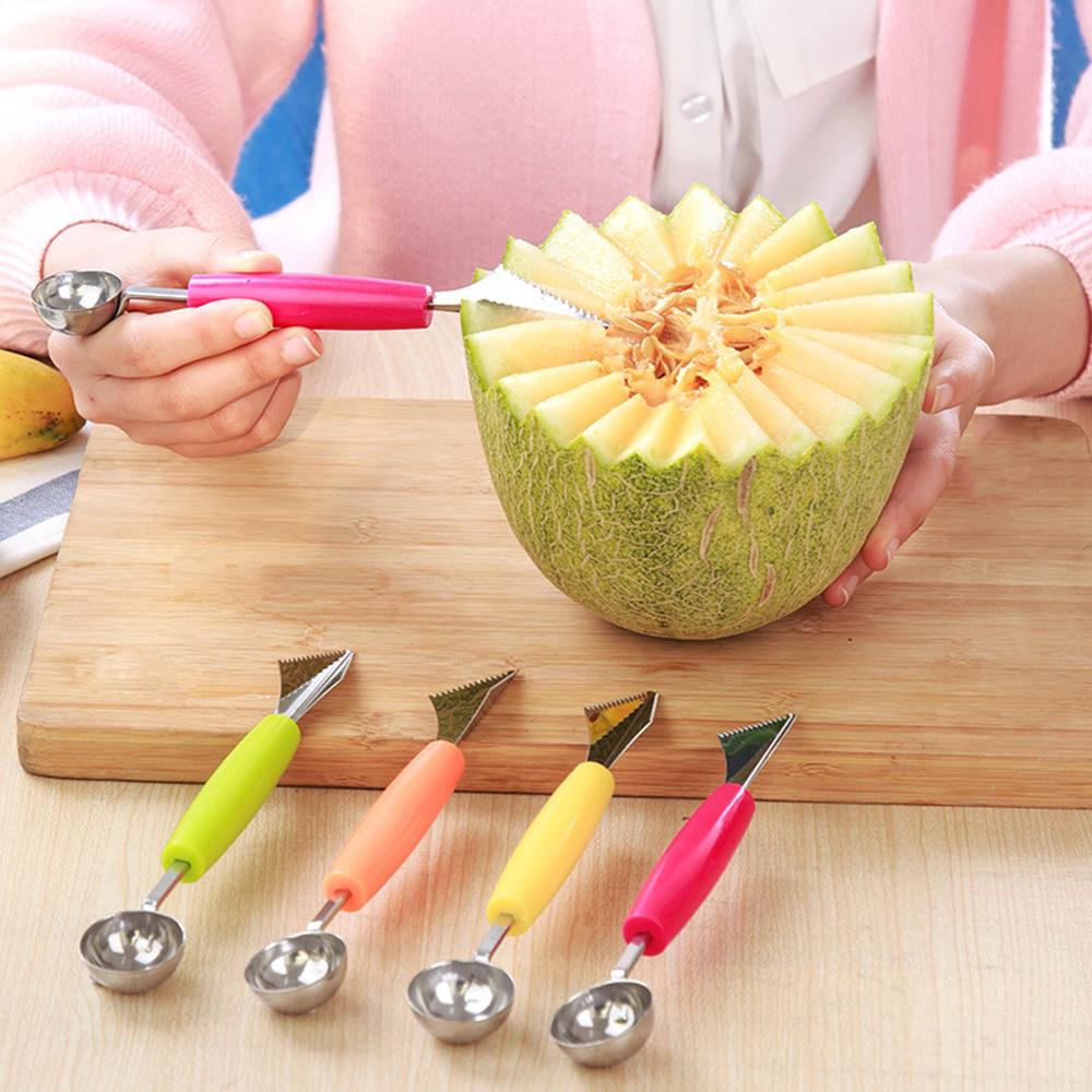 Fruit Melon d'eau en acier inoxydable Slicer Couteau Cutter et crème glacée Melon Ballers Scoop Double taille cuillère Set Outils de cuisine