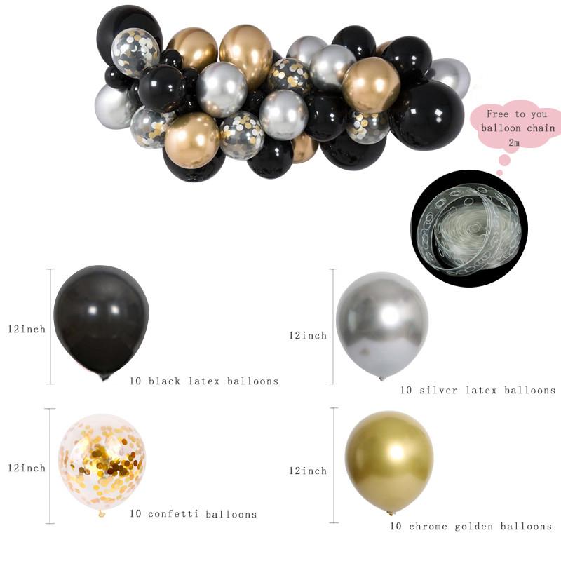 Set 3 Black Gold Silver Balloon Cloud