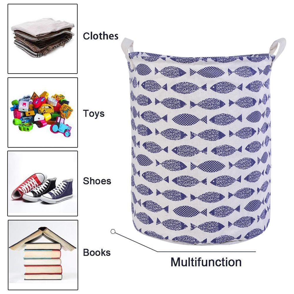 Urijk Foldable Bucket Clothes Baskets Storage Organizer Large Dirty Laundry Bag Basket For Toy Handle C19041701
