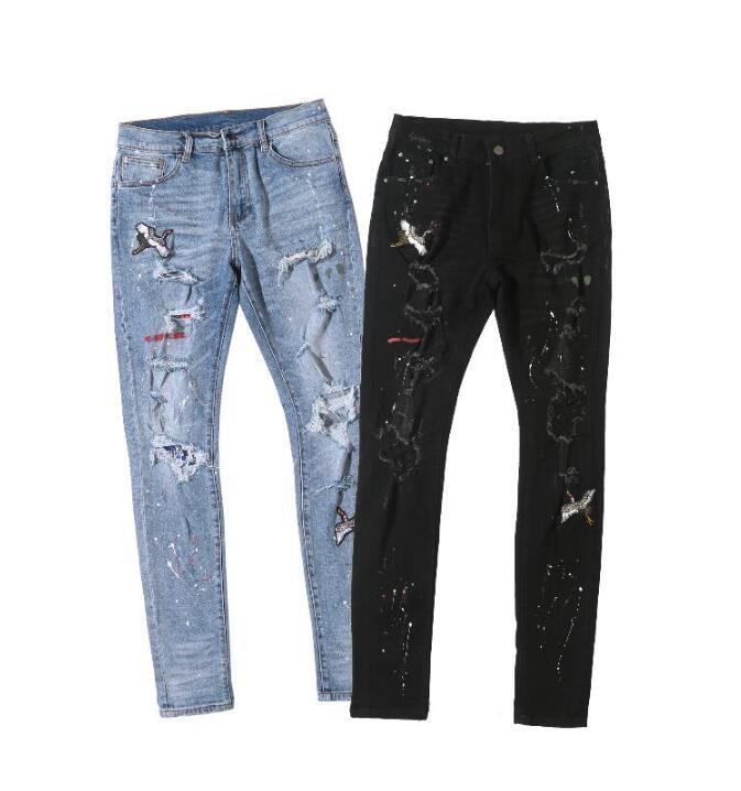 Summer Men/'s Splice Slim Fit Casual Jeans Skinny Denim Pants Trousers 30/'/'-38/'/'