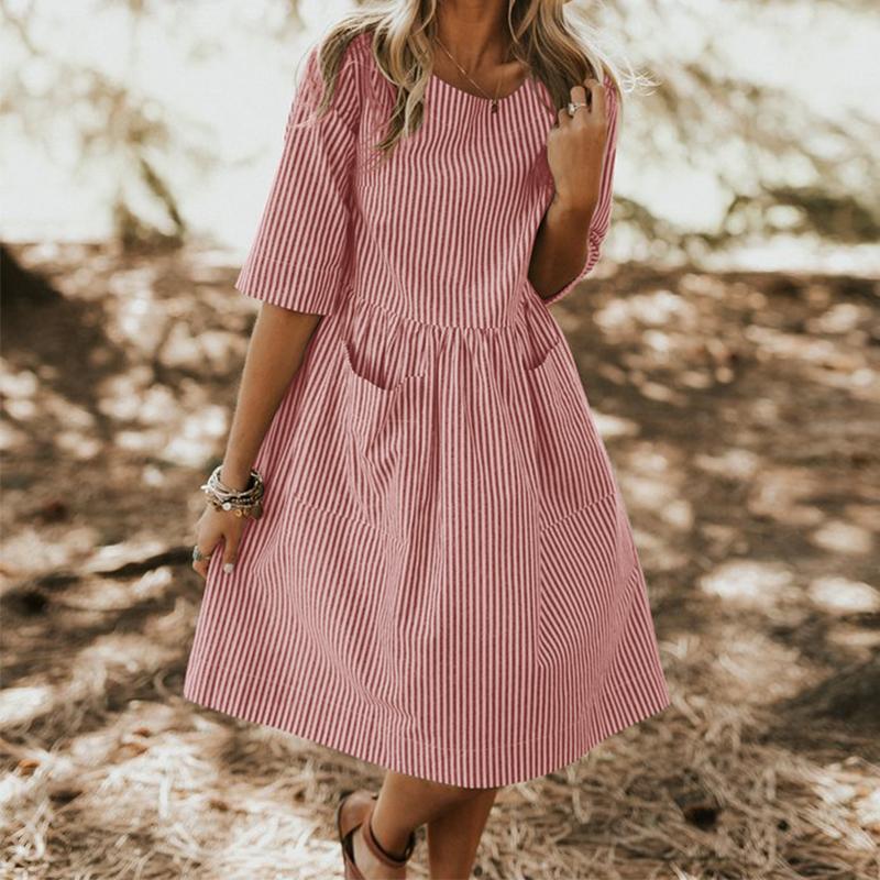 Plus Size Zanzea Women Summer Vintage O Neck Half Sleeve Pockets Loose Striped Dress Casual Baggy Work Sundress Party Vestido J190430