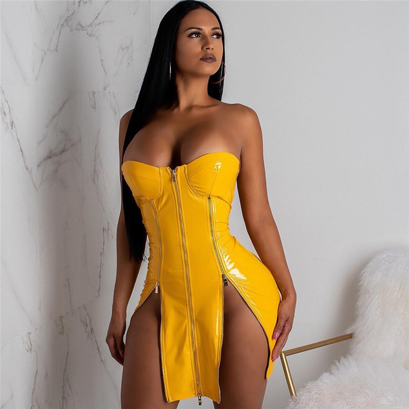 Red Yellow Black Sexy Leather Dress Women Strapless Front Zipper High Split White Bodycon Mini Dress Party Club Dresses Vestidos