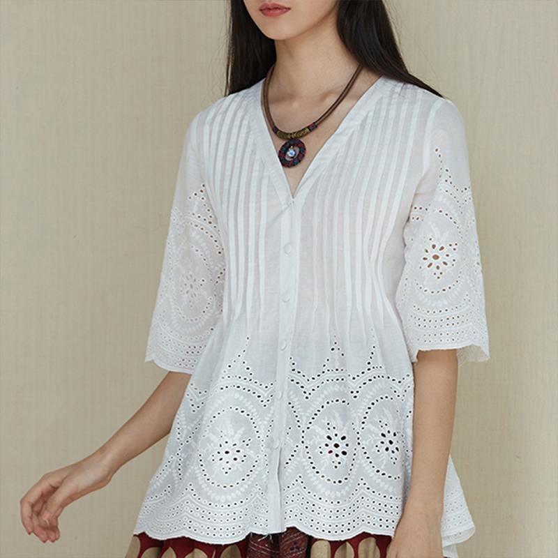 2019 Camicetta di lino di cotone da donna estiva Elegante ricamo Hollow Blusas Camicie da donna con scollo a V Camicie a pieghe Casacca Top Plus SizeMX190824