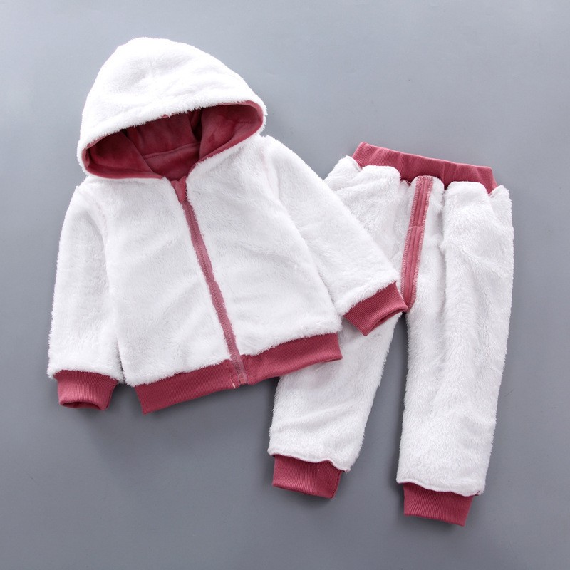 Girls Clothes Sets Autumn Winter Children Fashion Thick Velvet Hoodies+Pants Tracksuits For Baby Girls Kids Warm Outfits Christmas Suit