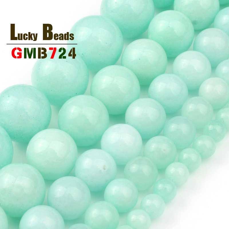 """Redondo Azul Amazonita Color Jade granos flojos joyería haciendo 15/"""" tamaño 6//8//10//12mm"""