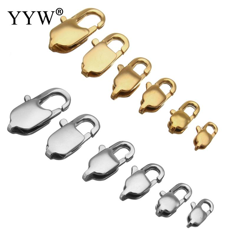 /bag Stainless Steel Lobster Claw Clasp Gold silver Jewelry Accessories Fit for Bracelet Necklace DIY different size
