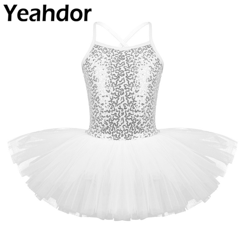 iEFiEL Toddler Girls Shiny Sequins Colourful Dance Costumes Dancing Dress Outfits Kids Ballet Tutu Dress with Hair Hoop