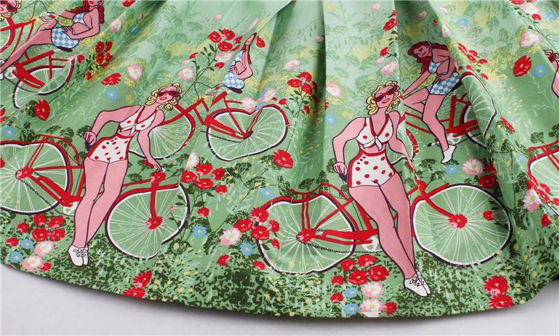 Kostlish Retro Print Flower Summer Skirts Womens High Waist Vintage Skirt Elegant A-Line Midi Women Skirt Plus Size XXL 22 (50)