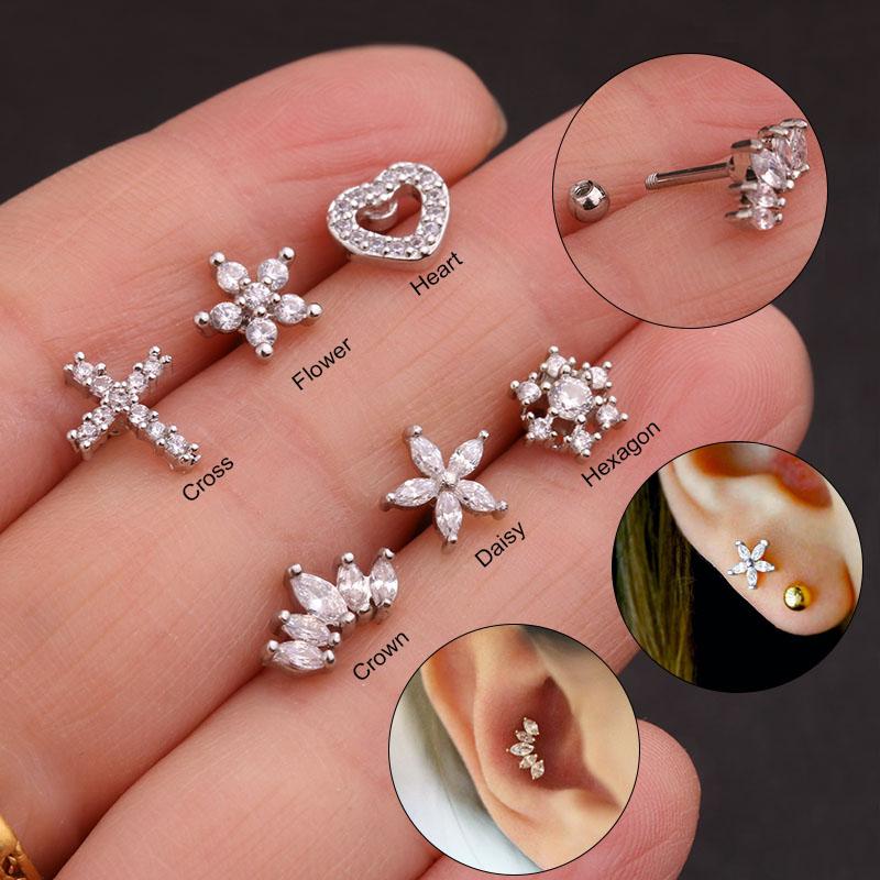 Tragus oreja Helix cartilage Barbell piercing conector cristal cadena cruz negro