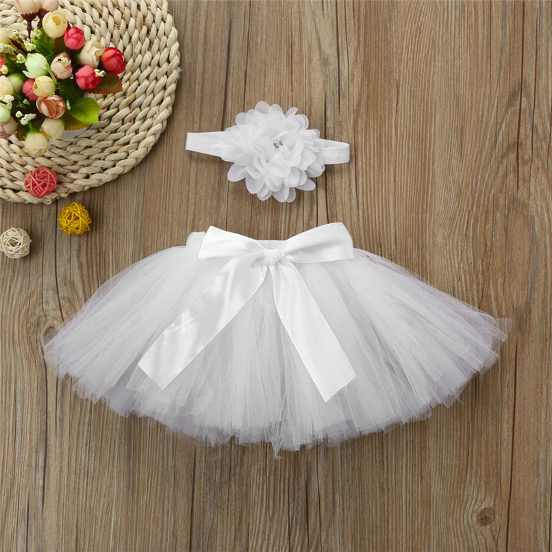 5 Color Summer Girls Skirt Toddler Baby Newborn Solid Lace Skirt+Floral Headband For Photo Prop Suit For 0-4M M8Y08 (22)
