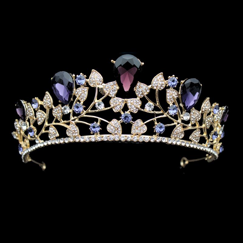 Vintage Diamante Bridal Hair Accessories Purple Crystal Wedding Diadem Rhinestone Pageant Prom Crown And Tiara For Bridesmaid C18112001