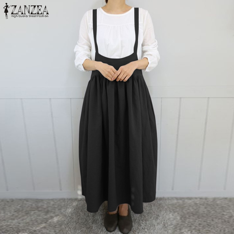 2019 Zanzea Women Strappy Solid Long Dress Summer Sleeveless Suspenders Casual Pleated Cotton Linen Overalls Dress Sarafans Robe Y190507
