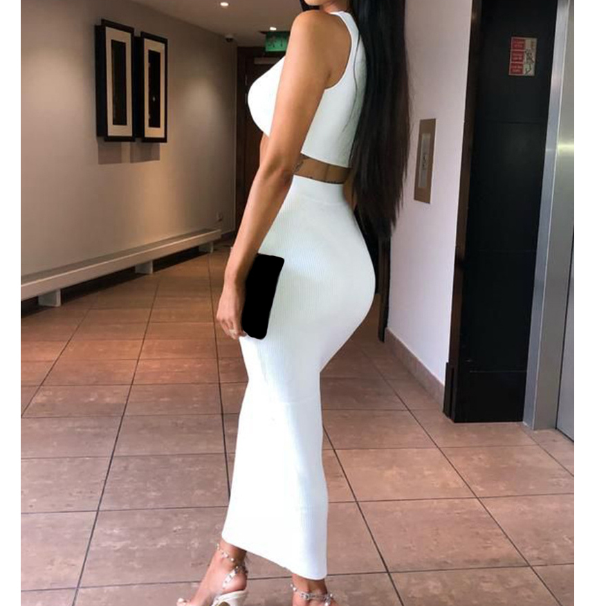 Skinny Tracksuits Women Suits Set Outfits Sleeveless Crop Tops Package Hip Long Skirts Femme Sexy Sets Clubwear M0482 C190416