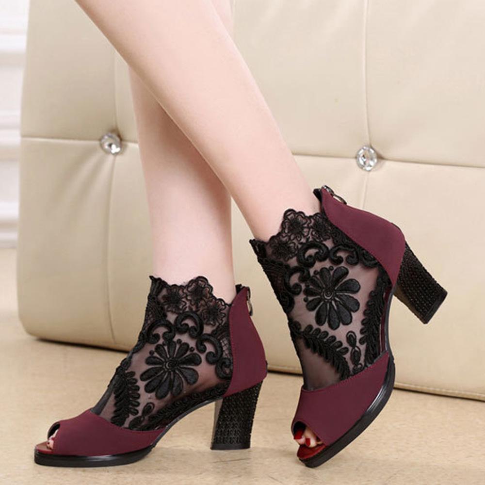 Fermuar Yüksek Sandalet Ile Kadın Olacak Kod Dantel Gazlı Bez Havalandırma Burnu Geri Honor2019 Son Moda Ayakkabı