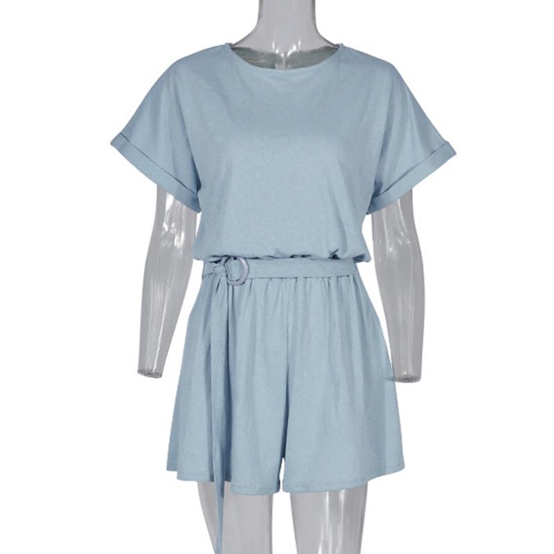Forefair Linen Shorts Jumpsuit Summer Wide Leg (4)