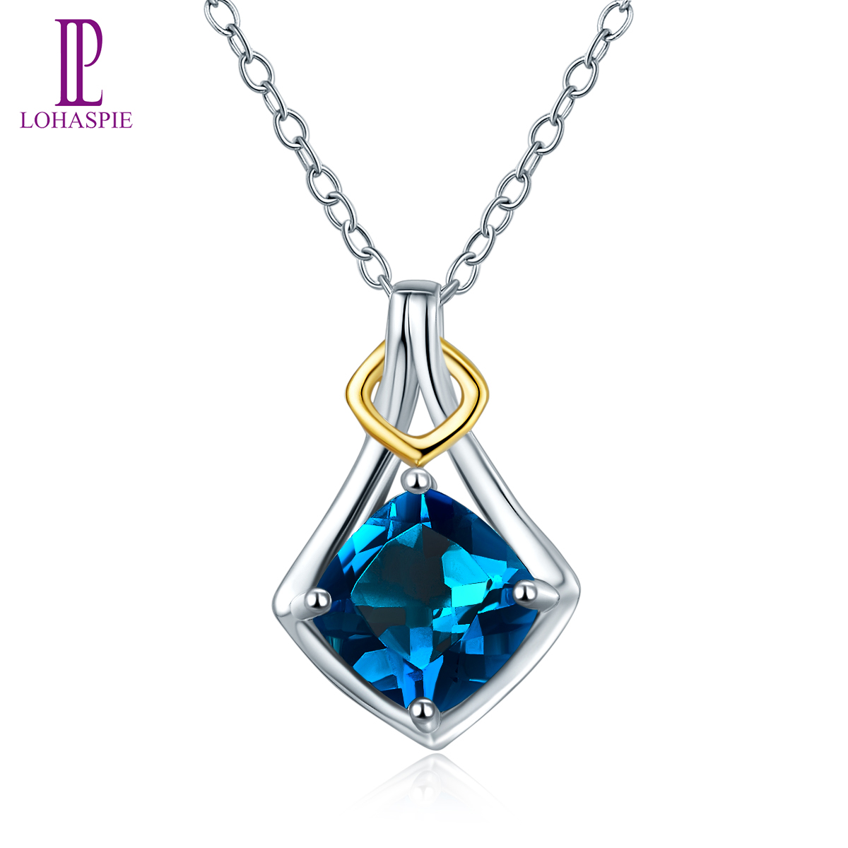 Sterling Silver Real Blue Topaz Pendant Chain New