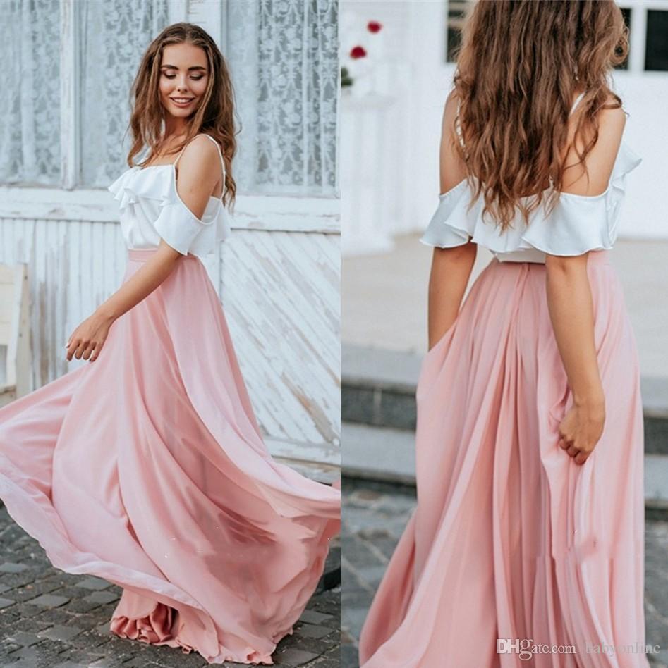20 Eleganter Kontrast Weiß Rosa Brautjungfernkleider Eine Linie  Spaghettibügel Flowy Chiffon Lange Böhmische Trauzeugin Kleider