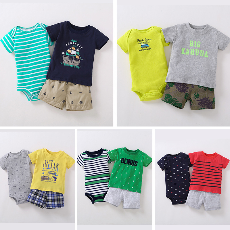 summer baby boy clothes infant clothing outfit short sleeve T-shirt tops set newborn suit babies print clothing new born costume