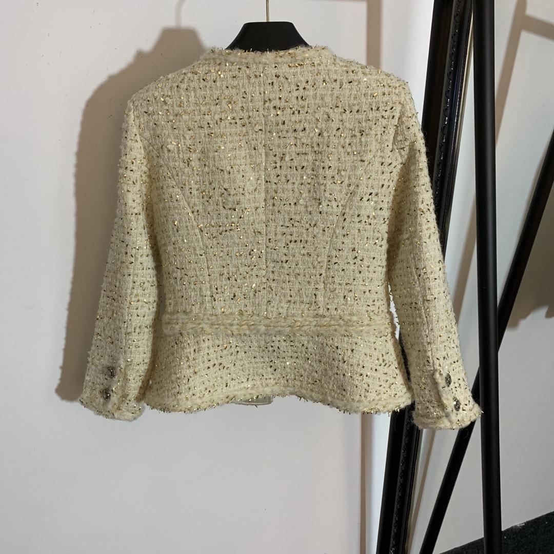 Earlyautumn Marke Frauen Mantel Apricot Fringe Pailletten Langarm Tweed Jacke Casual Frauen Tops Mantel Top-Qualität Frauen Kleidung -9