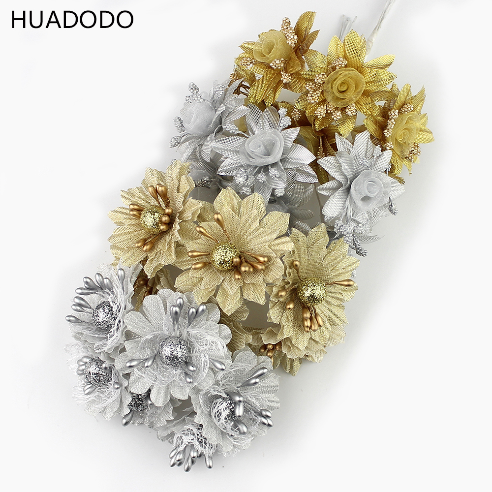 Golden Silver Glitter flowers