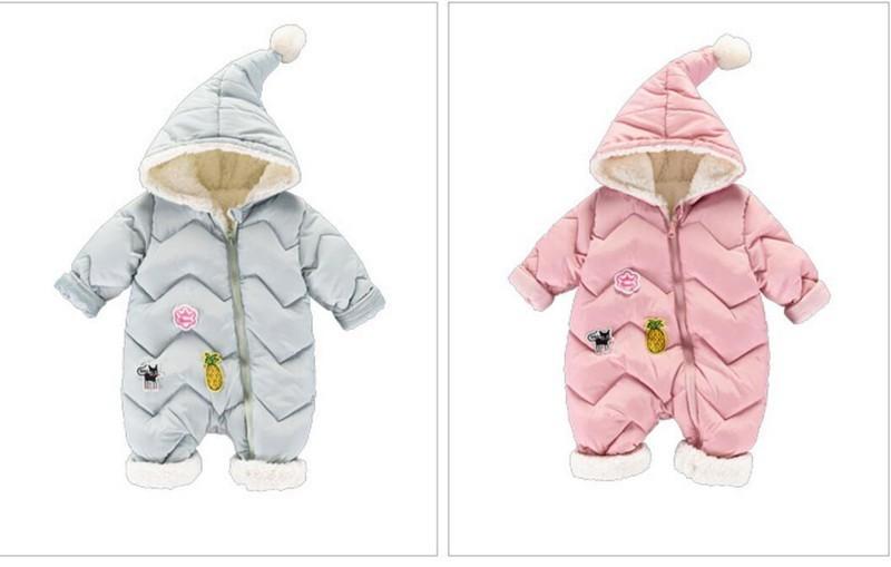 CROAL CHERIE 60-100cm Baby Winter Girls Boys Clothes Warm Fleece Velvet Newborn Baby Romper Infant Costume Pink Sky Blue (2)