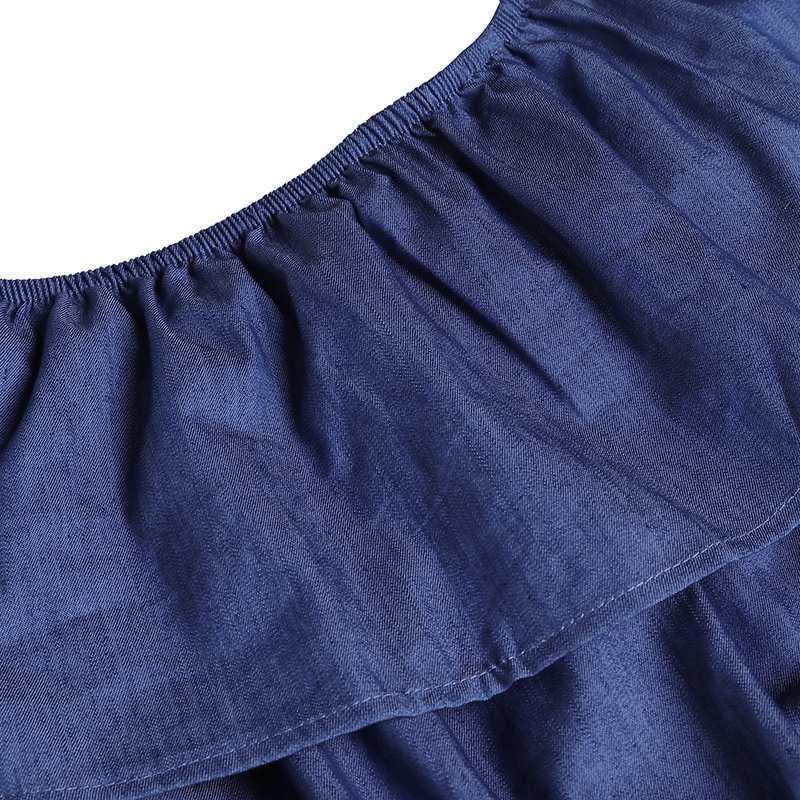 Denim Rompers Womens Jumpsuit Vonda Summer Sexy Slash Neck Off Shoulder Ruffles Playsuits Overalls Plus Size Wide Leg Pants Q190509