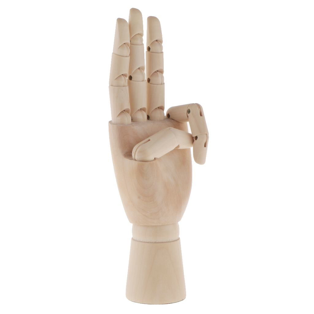 Wooden Mannequin Hand Model - Sectioned Articulated Flexible Fingers Manikin Hand Figure for Sketching Painting Mold - Left Hand